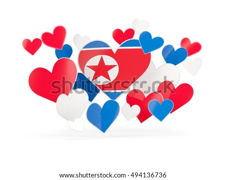 Flag of korea north, heart shaped stickers on white. 3D illustration