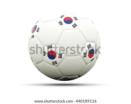 Flag of korea south on football, isolated on white. 3D illustration - stock photo