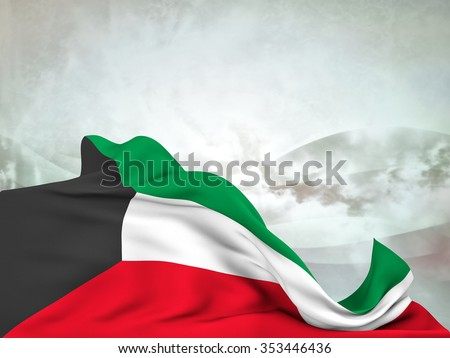 Flag of Kuwait moved by the wind, leaving a useful space over abstract waves - stock photo