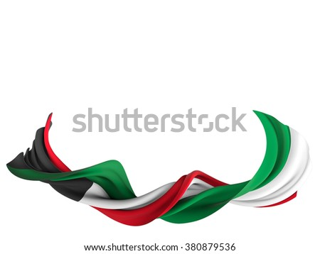 Flag of Kuwait shaped by the wind over a white background. - stock photo