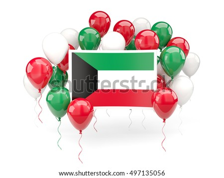 Flag of kuwait, with balloons isolated on white. 3D illustration