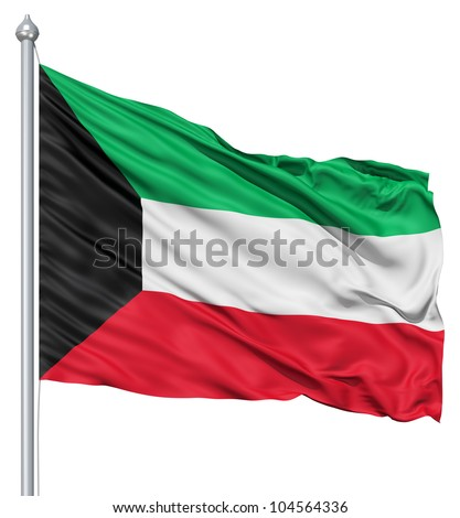 Flag of Kuwait with flagpole waving in the wind against white background