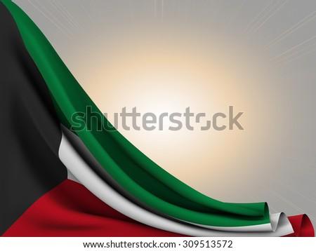 Flag of Kuwait  with sun shine background - stock photo