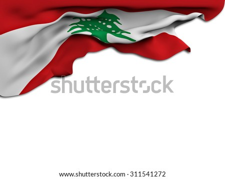 Flag of Lebanon waving and fluttering on white background - stock photo