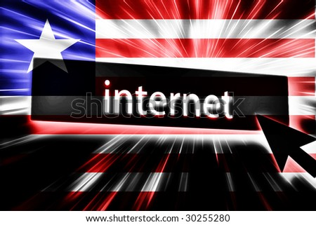 Flag of Liberia, national country symbol illustration clicking on internet