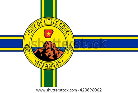 Flag of Little Rock is the capital and the most populous city of the U.S. state of Arkansas - stock photo