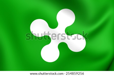 Flag of Lombardy, Italy. Close Up.    - stock photo