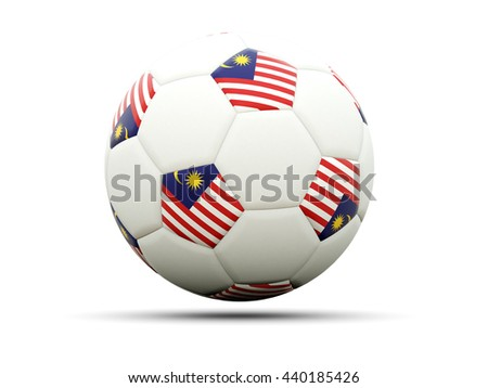 Flag of malaysia on football, isolated on white. 3D illustration