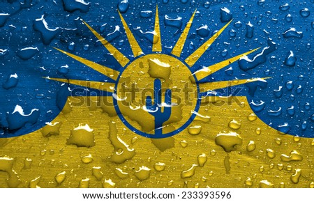 flag of Mesa with rain drops - stock photo