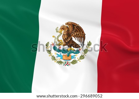 Flag of Mexico - 3D Render of the Mexican Flag with Silky Reflective Texture