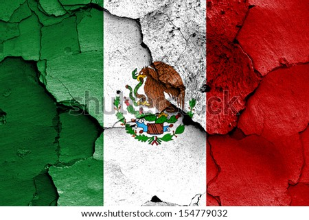 flag of Mexico painted on cracked wall - stock photo