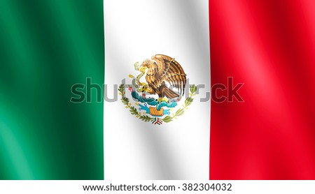 Flag of Mexico waving in the wind giving an undulating texture of folds in the fabric. The Image is in the official ratio of the flag - 4:7. - stock photo