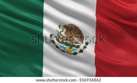 Flag of Mexico waving in the wind with highly detailed fabric texture - stock photo