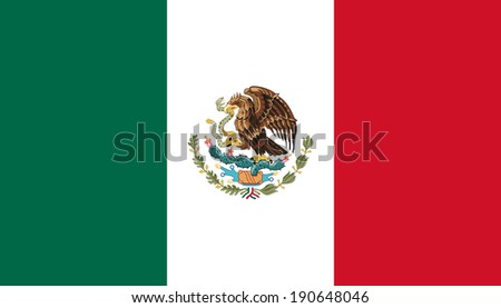 Flag of Mexico with coat of arms. Accurate dimensions, elements proportions and colors.