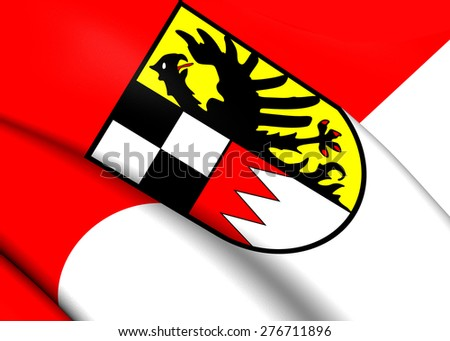 Flag of Middle Franconia, Germany. Close Up. - stock photo