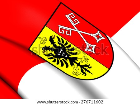 Flag of Minden, Germany. Close Up. - stock photo