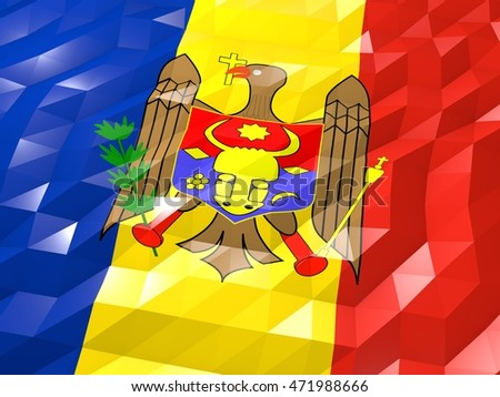 Flag of Moldova 3D Wallpaper Illustration, National Symbol, Low Polygonal Glossy Origami Style