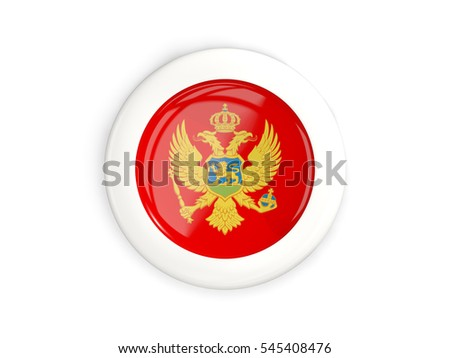 Flag of montenegro, glossy round button with white frame isolated on white. 3D illustration