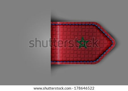 Flag of Morocco in the form of a glossy textured label or bookmark.