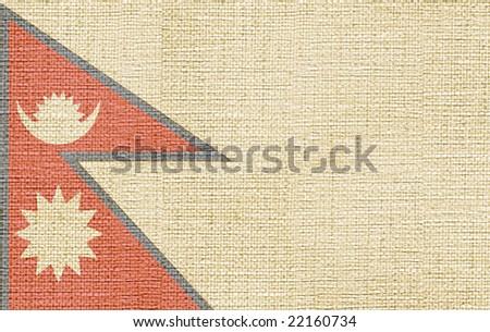 flag of nepal canvas - stock photo