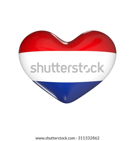 flag of Netherlands on the heart. Holland. 3d render illustration - stock photo