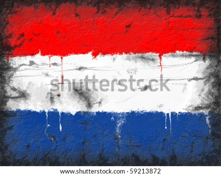 Flag of Netherlands painted on old wall â?? grunge style illustration - stock photo