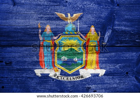 Flag of New York State, painted on old wood plank background