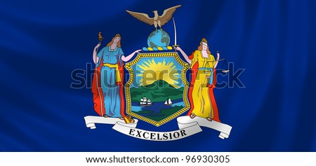 Flag of New York state waving in the wind detail - stock photo