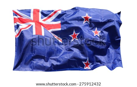 Flag of New Zealand, isolated on white background by clipping path - stock photo