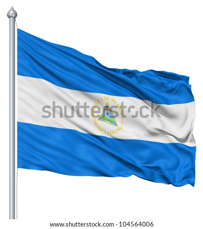 Flag of Nicaragua with flagpole waving in the wind against white background - stock photo