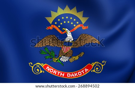 Flag of North Dakota, USA. Close Up.
