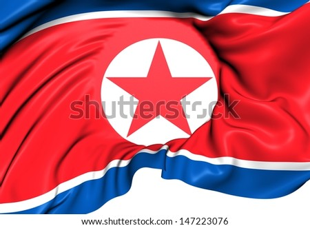 Flag of North Korea. Close Up.
