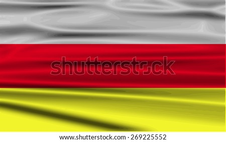Flag of North Ossetia with old texture.  illustration - stock photo