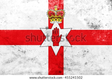 Flag of Northern Ireland, UK, with a vintage and old look - stock photo