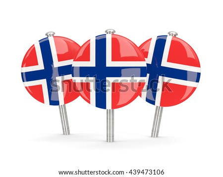 Flag of norway, round pins on white. 3D illustration - stock photo