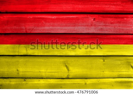Flag of Paderborn, Germany, painted on old wood plank background