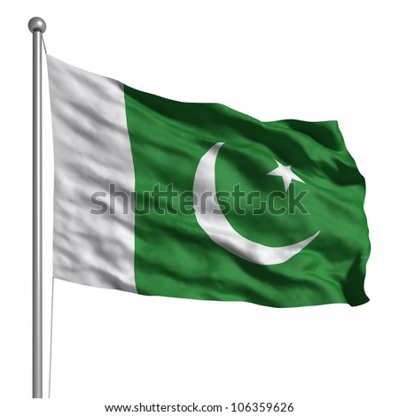 Flag of Pakistan. Rendered with fabric texture (visible at 100%). Clipping path included. - stock photo