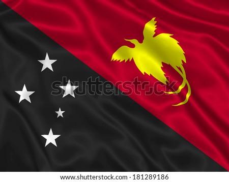 Flag of Papua New Guinea - stock photo
