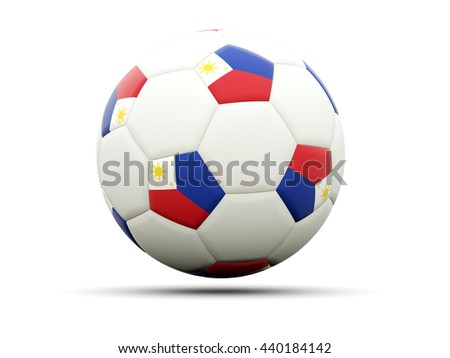 Flag of philippines on football, isolated on white. 3D illustration - stock photo