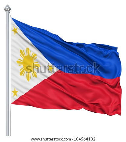 Flag of Philippines with flagpole waving in the wind against white background