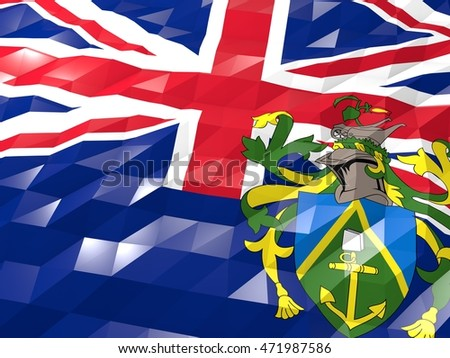 Flag of Pitcairn 3D Wallpaper Illustration, National Symbol, Low Polygonal Glossy Origami Style