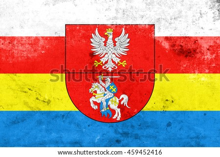 Flag of Podlaskie Voivodeship with Coat of Arms, Poland, with a vintage and old look - stock photo