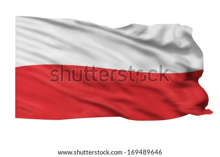 Flag of Poland flying high in wind. - stock photo