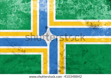 Flag of Portland, Oregon, with a vintage and old look - stock photo