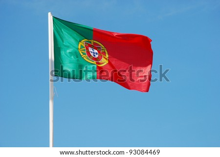 Flag of Portugal waving - stock photo