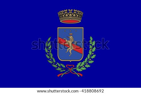 Flag of Potenza is a city and comune in the Southern Italian region of Basilicata. It is the capital of the province of Potenza and the Basilicata region. - stock photo