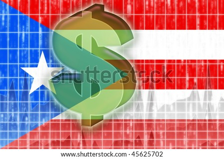 Flag of Puerto Rico, national country symbol illustration finance economy dollar - stock photo