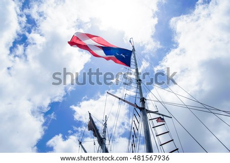 flag of Puerto Rico on a mast