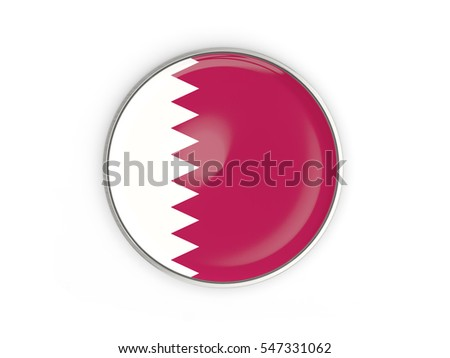 Flag of qatar, round icon with metal frame isolated on white. 3D illustration