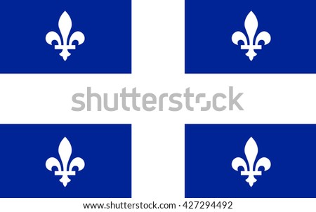 Flag of Quebec is the second-most populous province in Canada - stock photo